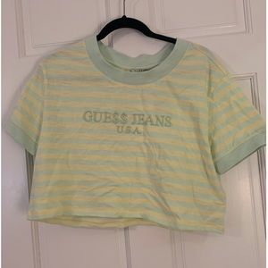 Guess ASAP Rocky Boxy Ringer Crop Tee Medium Green